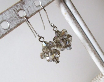 Gray Silver Crystal Earrings,  Beadwoven Ball Designs, Unique, ON SALE!!!, perfect little earrings