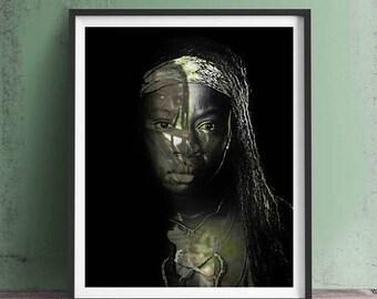 The Walking Dead Michonne Art Print or Canvas, Wall Art, Artwork, Gift