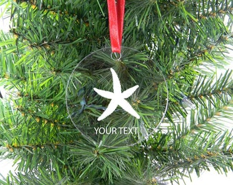 Personalized Custom Starfish Clear Acrylic Christmas Tree Ornament with Ribbon