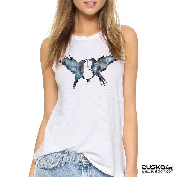 Magic Ravens | Women Sexy and Flowy Muscle Tank | Beach shirt | Totem | Galaxy crow | Magic Potion | Spirit animal | Shamanism | ZuskaArt