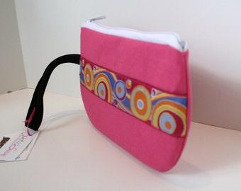 Bright Pink Fabric Wristlet, IPhone Wristlet, SmartPhone Wristlet, Zippered Wristlet