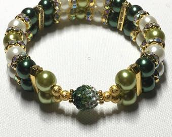 Double banded Rhinestone Ball (Green)