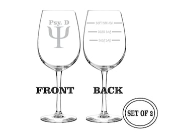 2 PSYCHOLOGIST Etched Wine Glasses Profession Set of 2 Engraved Wine Glasses Gift for PSYCHOLOGIST Wine Glasses Gift Cocktail Glass