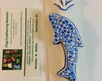 Dolphin - Silhouette Mezuzah - blue retro