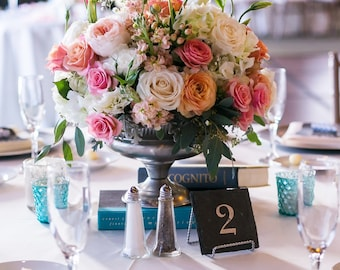 Slate Wedding Table Numbers with Stand- Rustic, Elegant, Wedding, Engagement Party, Party, Fundraiser