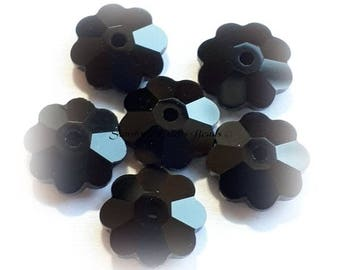 Swarovski Crystal Beads 6Pcs 3700 JET BLACK Unfoiled Marguerite Lochrose Faceted Flower Bead - Sizes 6mm, 8mm & 10mm available