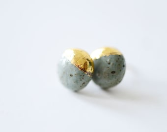 22k Gold Dipped Studs - Speckled Stoneware Stud Earrings, Bridesmaids Gift, 14k gold filled posts - Sensitive Ears - Porcelain and Stone