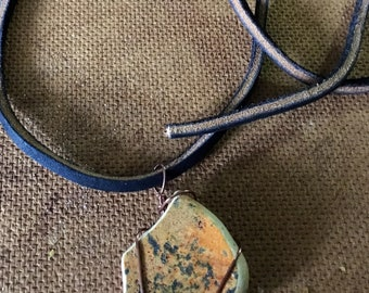 Unique Orange pottery beach shard Necklace