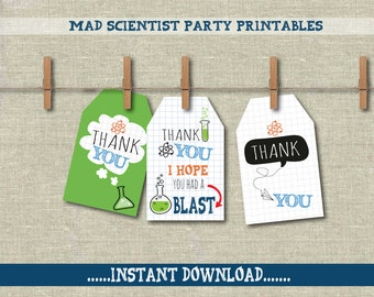 Mad Scientist thank you labels/tags,  Science Party decor,  Thank you tags. Tween, teen party.