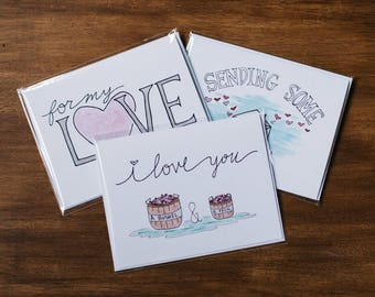 3 pack of Valentine's Day Cards, Hand Lettered Cards