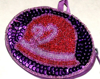 Red Hat Society Coin Purse Hand Sewn Purple Sequins Red Beads Satin Tafetta Quality Classic Red Hat Style Change Purse Vintage Coin Case