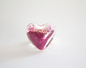 Glass Heart Ring With Pink Glitter - Glass Terrarium Ring