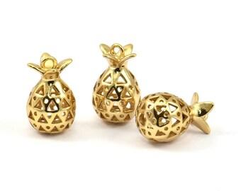 Gold Pomegranate Pendant - 2 Gold Plated Pomegranate Pendants (10x17mm) K145