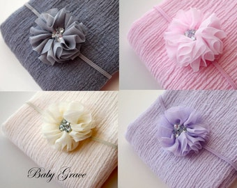 Newborn Headband, Newborn Wrap, Newborn Photo Prop,Newborn Girl Photo Outfit, Photography Props, Baby Wrap, Newborn Flower Headband and Wrap