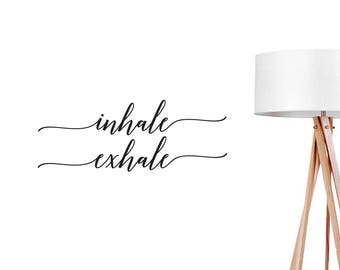 Inhale Exhale Wall Decal, Yoga Decal, Boho Desert, Typography Decal, Breathe Wall Decal, Office Decor, Boho Sticker, Typography Wall Sticker