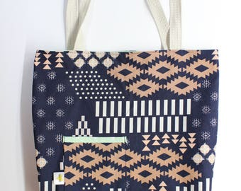 Reversible Tote Bag. Grocery Bag. Library Bag. Peach and Navy Blue Aztec Designs. AGF Arizona Collection. Mint with Triangles on Reverse