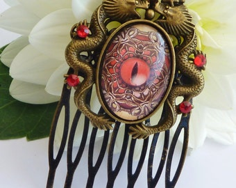 Antique hair comb in bronze with dragon, fantasy hair comb, steampunk hair comb, dragons eye, china