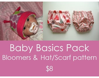 Nappy pattern, Baby Diaper Cover PDF pattern, Bloomer sewing pattern, Fleece pattern, Baby hat pattern sewing - Baby Basics 2 Pattern Pack