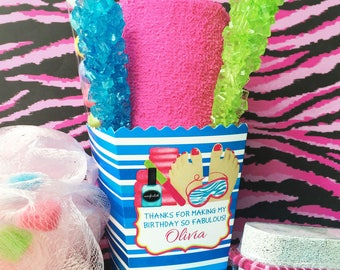 Spa Favor box, spa birthday party, Spa party, spa favors, Kids Spa Party, Manicure, pedicure, Treat box, party decor,spa party supplies