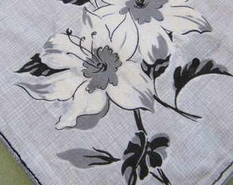 Gray & White Lily Hankie - Burmel Unused Printed Cotton Handkerchief - Burmel Original Label - Hankie White Lilies Gray and Black Background