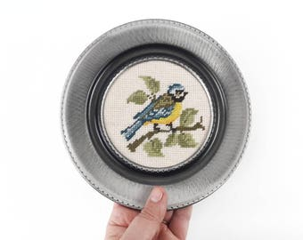 Vintage Framed Embroidery of a Chickadee Bird