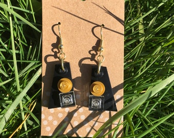 Upcycled Fancy Black and Gold Dangle LEGO Earrings