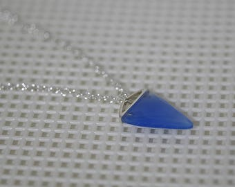 Gemstone Jewelry - Faceted Triangle - Shown in Blue Chalcedony - 7 Gemstones/Colors Available - Sterling Silver Chain - 3 Lengths