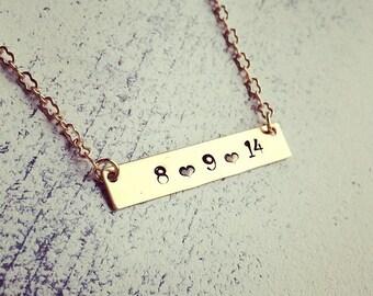 Customizable Date Bar Necklace | Anniversary Date Necklace | Wedding Date Necklace