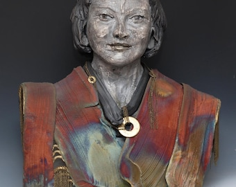 Large Female Statue Figurative Sculpture Wabi Sabi style Raku Ceramics by Anita Feng
