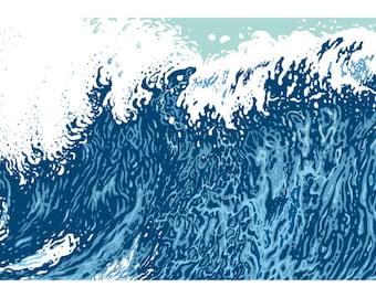 "Long Wave - Horizontal Print - Silkscreen - 8"" x 24"""