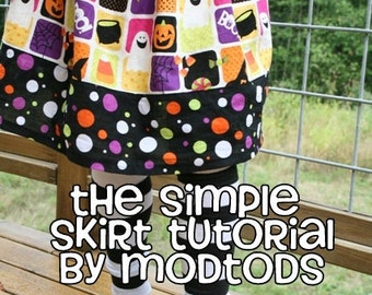 Skirt TUTORIAL Simple Skirt PDF Pattern for Girls and Toddlers sizes 18-24months to girls 8. Instant Download.