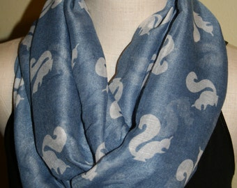 Squirrel Print Infinity Scarf Lt Blue Squirrel Circle scarf, squirrel scarf, Womens Accessories- Loop Scarf Light Blue Scarf Outdoors Scarf