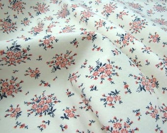 Floral Cotton Knit Fabric, Cotton Rib Stretchy Knit Fabric by Yard - Ivory Color