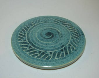 Stoneware Pottery Trivet Hot Plate  - Blue Green Carved