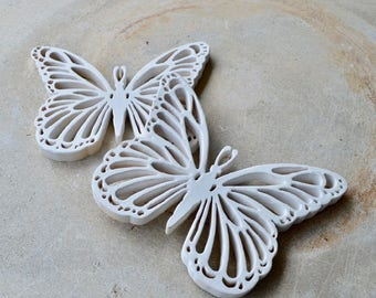 Handmade Scrolled Wooden Butterflies, Butterfly Appliques, White Painted Butterflies, Shabby Chic, Art Supply, Repurpose, Upcycle, Make