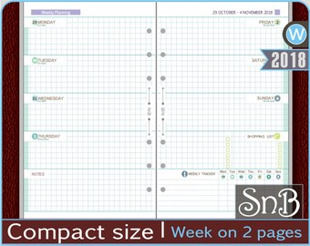 SnB Compact - Full Grid Blue - Week on 2 pages - Monday - 2017 / 2018 - Printable Weekly inserts for Franklin Covey binders