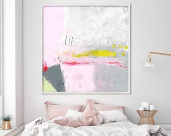 Modern wall art, Large art print, minimalist print, Baby pink and grey giclee print on canvas, abstract Wall art prints, Duealberi