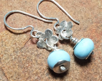 Something Blue Earrings - Aquamarine - Colored Textured Lampwork Glass and Shiny Sterling Silver - Handmade