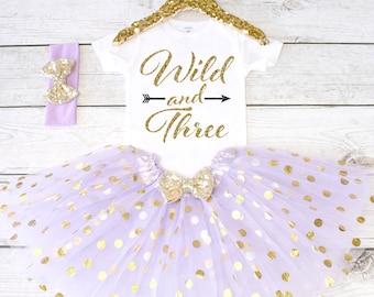 Wild and Three. CUSTOM AGE. Girls Birthday Outfit. Birthday Shirt. Birthday Tutu Outfit. Birthday Outfit Girl. 3rd birthday. S3 3BD (LAV)