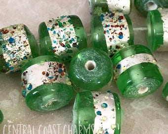 Vintage Lampwork India Glass Bead - 12mm x 10mm Cylinder Barrel Pressed Green Silver Foil Speckled Dots - Boho Ethnic - Central Coast Charms