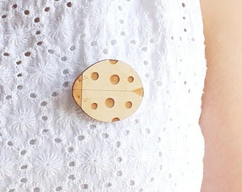 Laser Cut Wooden Ladybug Brooch