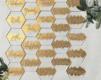 Clear Acrylic Hexagon Placecards Gold-Brushed