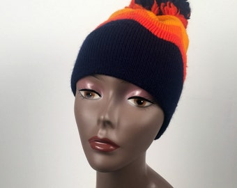 The Mountain Ltd. Vintage Navy and Orange Knit Hat Handmade in Aspen