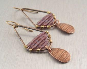 Violet Beaded Earrings - Textured Copper Drop Earrings - Purple Copper Earrings