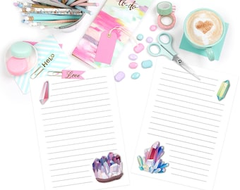Printable Writing Set- Crystal Gem Stone, instant download, stationery, writing set, letter set, note paper
