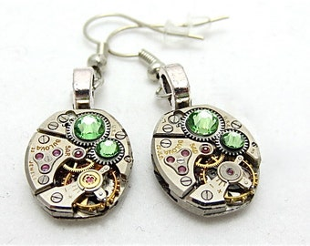 Steampunk ear gear - Peridot - Steampunk Earrings - Repurposed art