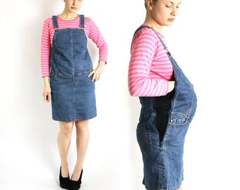 Vintage 90's Maternity Blue Denim Overall Dress, Jean Sarafan - Medium