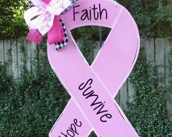 Breast Cancer Door Hanger, Breast Cancer Awareness, Breast Cancer Survivor, Pink Ribbon, Cancer Awareness