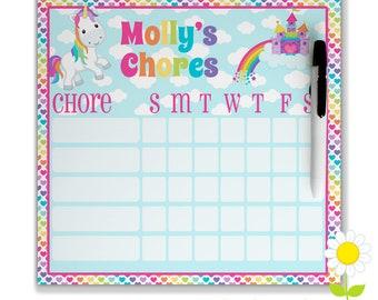 Personalized Unicorn Chore Chart for Kids - Girls' Chore Chart - Dry Erase Weekly Responsibility Chart - Magnetic Rainbow Chore Chart