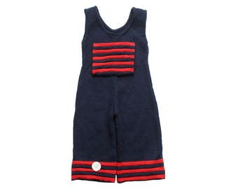 FRENCH VINTAGE 70's / baby dungarees / navy and red acrylic knit / new old stock / size 6 months